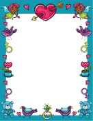 Blue Valentines Day Border