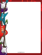 Colorful Electric Guitars Border
