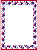 Crossed Red White Blue Flags Border