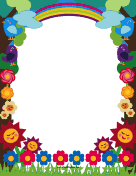 Cute Flowers and Birds Border