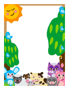 Forest Barnyard Animals Border