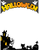 Haunted House Halloween Border