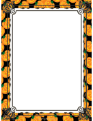 Orange Jack-o-Lanterns Halloween Border