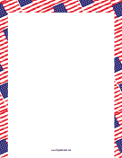 Overlapping American Flags Border