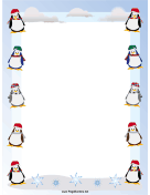 Penguins Christmas Border