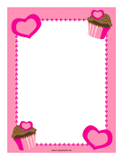 Pink Cupcakes and Hearts Border
