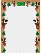 Reindeer and Trees Christmas Border