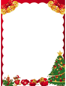 Tree Bells and Gifts Christmas Border