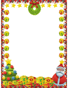Wreath Santa Tree and Gifts Christmas Border
