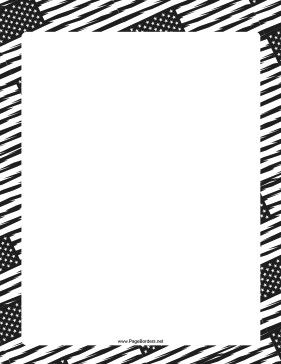 Black-and-White American Flag page border