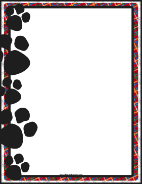 picture relating to Printable Page Borders named Black Paw Print Border