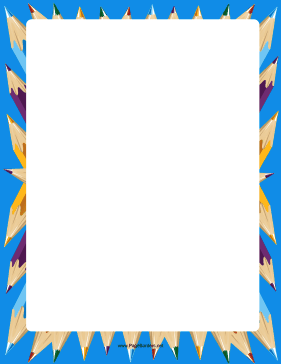 Blue Coloring Pencils Border page border