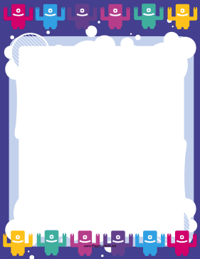 Blue Cute Monster Border page border