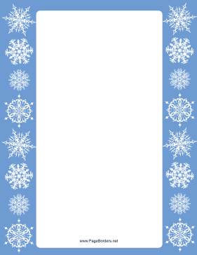 Blue Margins Snowflake Border page border