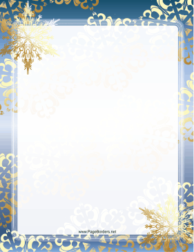 Snowflake Border For Microsoft Word Blue_and_gold_snowflake_border.png