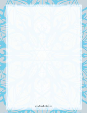 Blue on Gray Snowflake Border page border