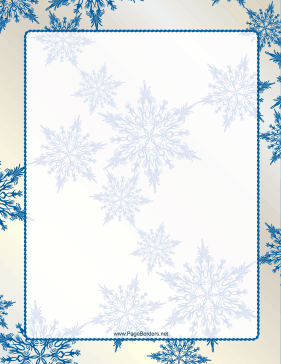 Blue On Ivory Snowflake Border Page Border  Free Microsoft Word Border Templates