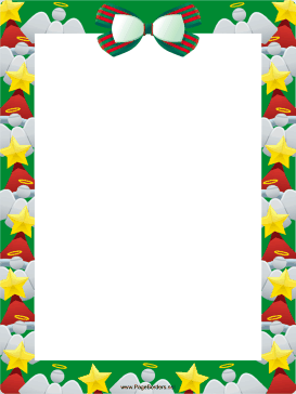 Bow Angels and Trees Christmas Border page border