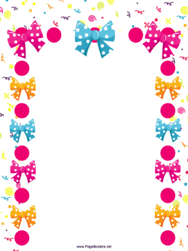 Bows and Confetti Party Border page border