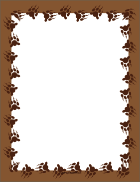 Brown Bear Paw Print page border