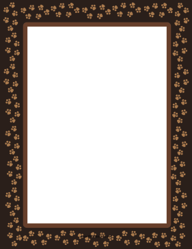 Brown Dog Paw Print Border page border