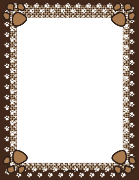 Brown Paw Print Border page border
