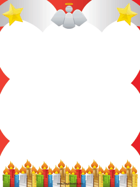 Candles Stars and Angel Christmas Border page border
