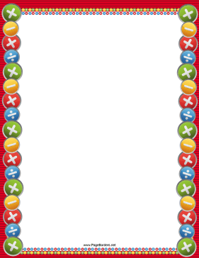 Colorful Arithmetic Border page border