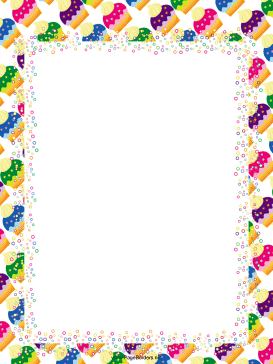 Colorful Cupcakes Party Border page border