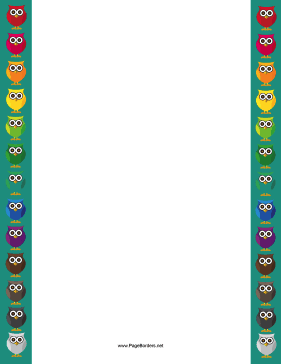 Colorful Owl Border page border