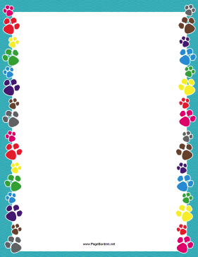 image relating to Printable Border named Vibrant Paw Print Border