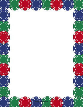 Colorful Poker Chips Border page border