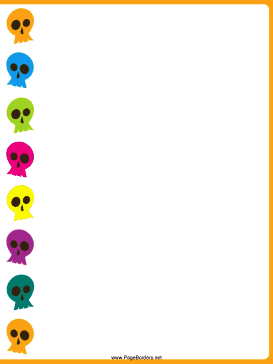 Colorful Skulls Halloween Border page border