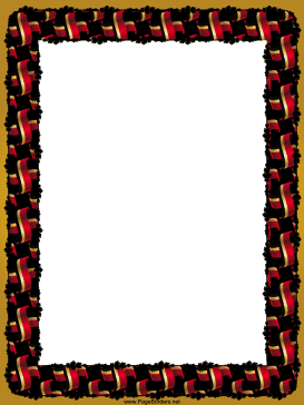 Crossed Red Gold Black Flags Border page border