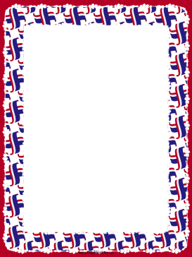 Crossed Red White Blue Flags Border page border