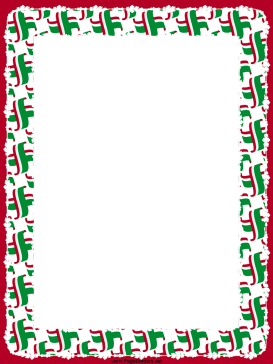 Crossed Red White Green Flags Border page border