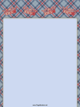 Crowns on Plaid Border page border