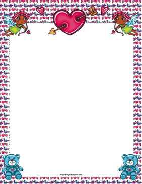 Cupids and Teddy Bears Border page border