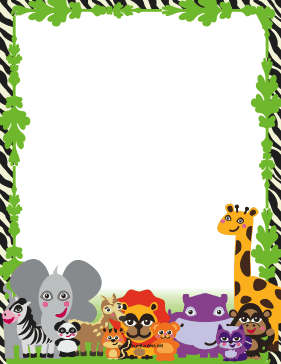 Cute Jungle Animal Border page border