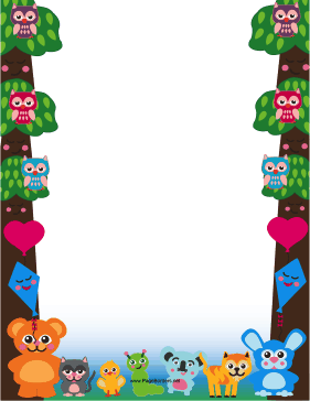 Cute Woodland Animal Border page border