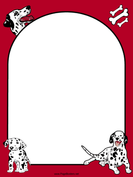 Dalmatian Dog Red Border page border