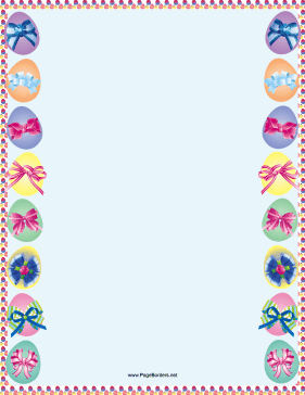 Easter Eggs with Ribbons Border page border