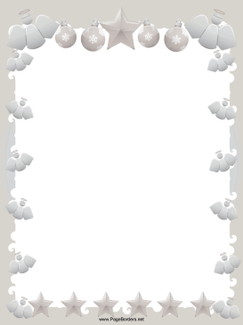 Elegant Angels Stars and Ornaments Christmas Border page border