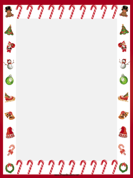 Festive Candy Canes Christmas Border page border