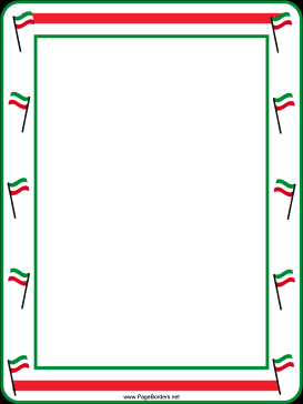 Festive Red White Green Flags Border page border