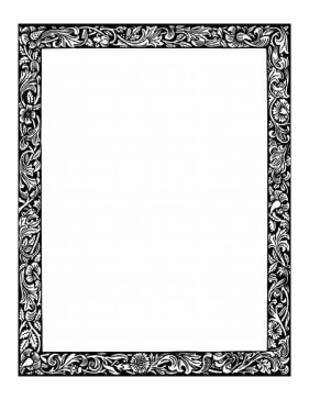 Floral Vines BW Border page border