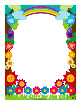 Flowers and Rainbows Border page border