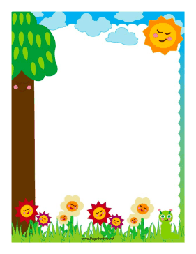 Flowers and Worm Border page border