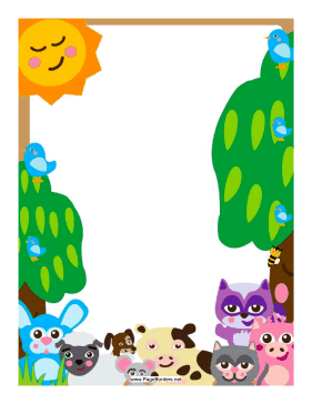 Forest Barnyard Animals Border page border