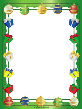 Gifts Packages and Ornaments Christmas Border page border
